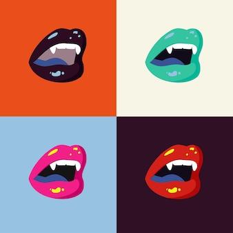 吸血鬼の少女の唇。セクシーな口を開け、牙のある歯。