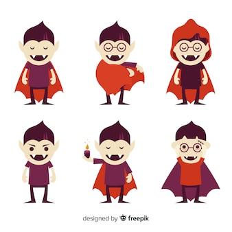 평면 디자인 뱀파이어 할로윈 캐릭터 컬렉션