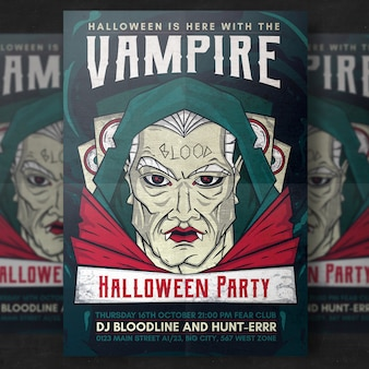 Vampire halloween party flyer template