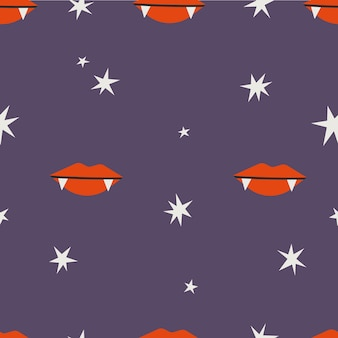 吸血鬼唇フラット漫画スタイルの紫色の背景にシームレスなベクトルパターン