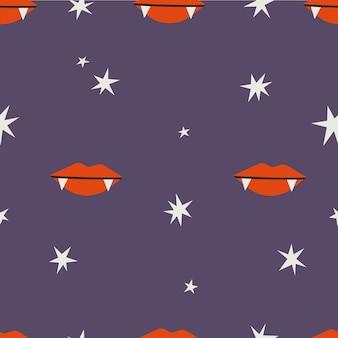Vampire lips seamless vector pattern on purple background in flat cartoon style