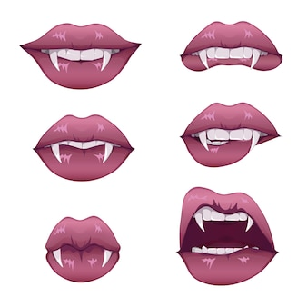 牙がセットされた吸血鬼の口。長い先のとがった犬歯と血まみれの唾液を伴う女性の閉じた赤い唇と開いた赤い唇。