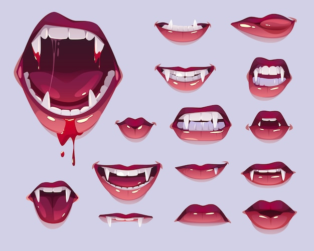 Vampire mouth with fangs set, female red lips