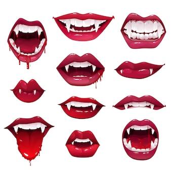 吸血鬼の口と歯のセットハロウィーンホラーホリデーモンスター、牙のある唇、血の滴と舌、赤い口紅の開いた口と魔女や獣の生き物の笑顔