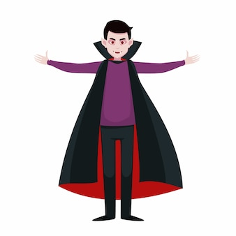 Vampire open arms. vector male character in the dracula costume