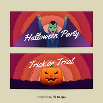 Vampire and pumpkin halloween banners