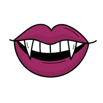A vampire's mouth with sharp fangs. purple lips. doodle style illustration
