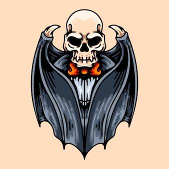 吸血鬼の頭蓋骨のキャラクターイラスト要素