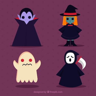 Vampire, witch, ghost and death in flat design