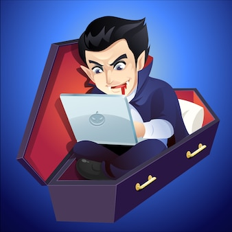 Vampire working on laptop in coffin