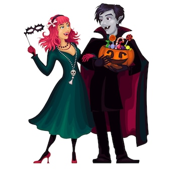 Vampires character illustration. frightening gloomy couple