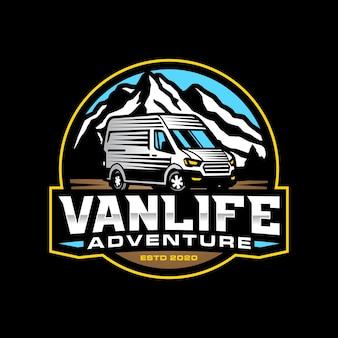 Шаблон логотипа приключения фургона