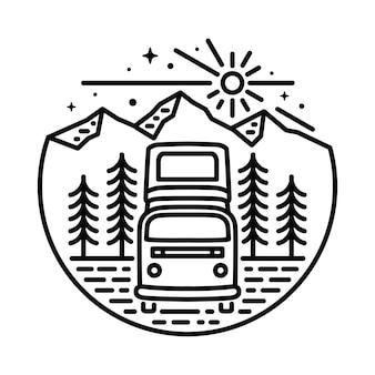 Ван приключения горная линия графическая иллюстрация вектор арт дизайн футболки