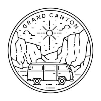 バンとグランドキャニオンのモノラインバッジデザイン