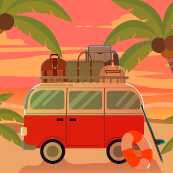 Van on the beach with sunset in summer theme