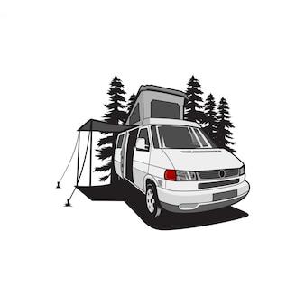 Van camper roof illustration