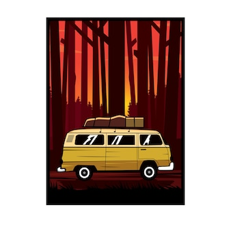 Van car on the forest
