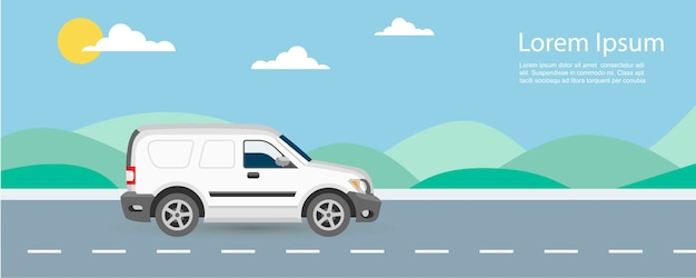 Van car free and fast delivery illustration with text template. van riding on highway with blue sky and green hills.