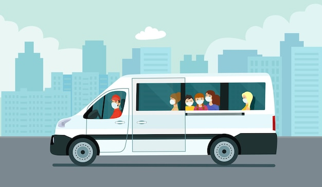 Van car with passengers against the background of an abstract cityscape. vector illustration.