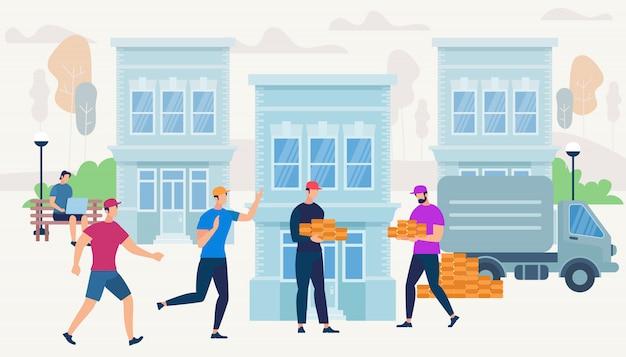 Рабочие несут кирпичи от van car, чтобы построить дом.