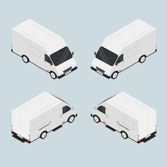 Van for the carriage of goods. the vehicle is white. roomy car. the transport company. car in isometric. machine in miniature. vector illustration.