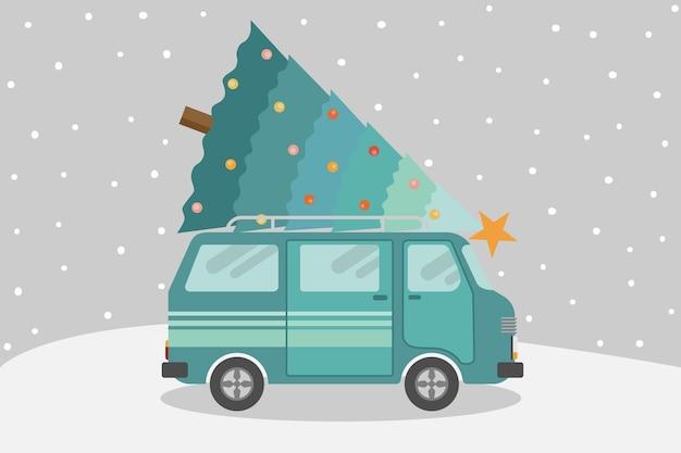 Ван, несущий елку с падающим снегом.