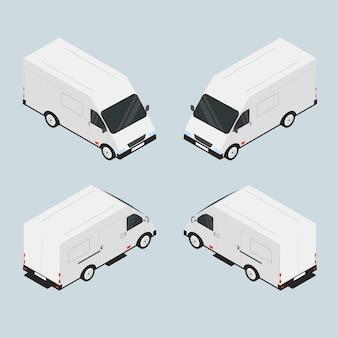 Фургон для перевозки грузов. автомобиль белый. вместительная машина. транспортная компания. автомобиль в изометрии. машина в миниатюре. векторная иллюстрация.