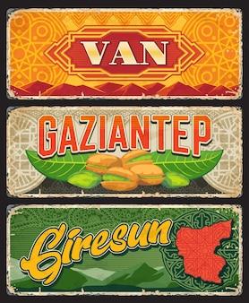 Van, gaziantep and giresun il, turkey provinces vintage plates