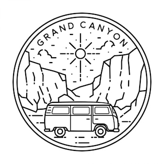 Van and grand canyon monoline badge design