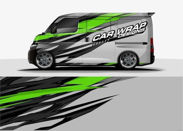 バンのグラフィックの背景。車と車両のグラフィックスビニールラップの抽象的なモダンなラインデザインコンセプト