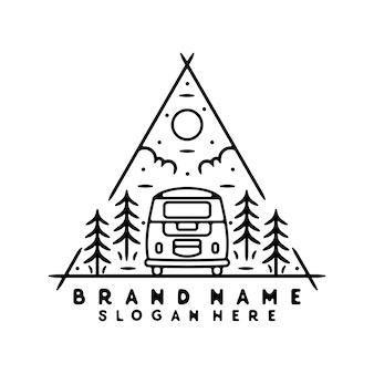Van monoline vintage outdoor badge design