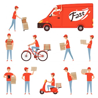 Van and motorcycle with delivery boy pack