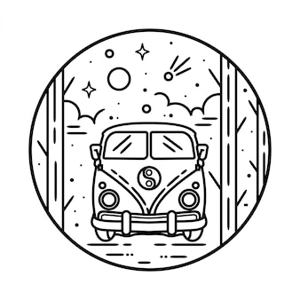 Van outdoor monoline badge design