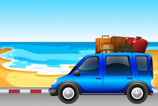 Van parking by the ocean