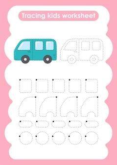 Рабочий лист для детей по написанию и рисованию линий van trace