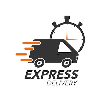 Van with stop watch icon for service, order, fast, free and worldwide shipping