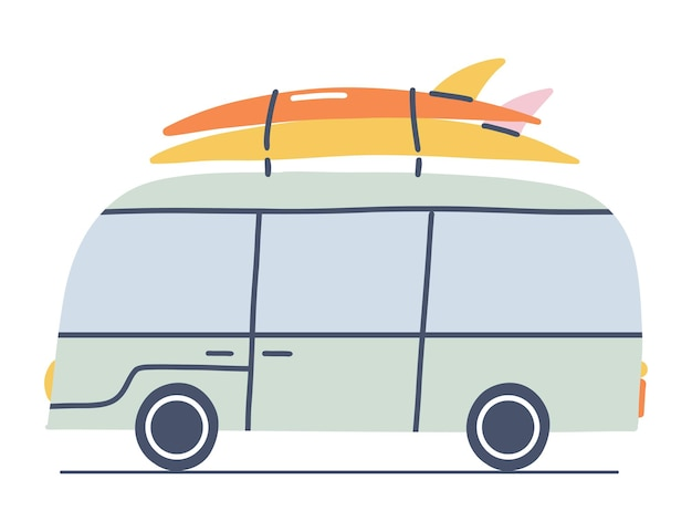 서핑 보드와 밴입니다. 여름 휴가 개념입니다. 캠퍼 밴 만화 그림입니다.