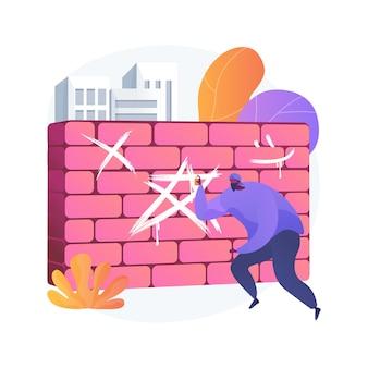 Вандализм абстрактное понятие векторные иллюстрации. разрушение и повреждение, государственная или частная собственность, политический вандализм, насилие и грабежи, абстрактная метафора граффити на стенах здания.