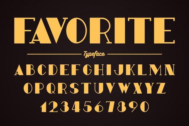 Авангард векторный декоративный дизайн жирный шрифт, алфавит