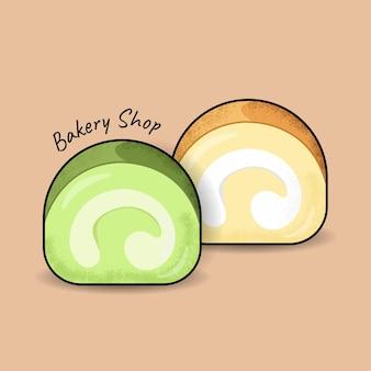 バニラと緑茶ロールcakevectorフラットデザインイラストカラフルなケーキ