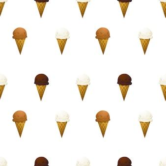 Vanilla, chocolate and caramel ice cream cone on white seamless pattern