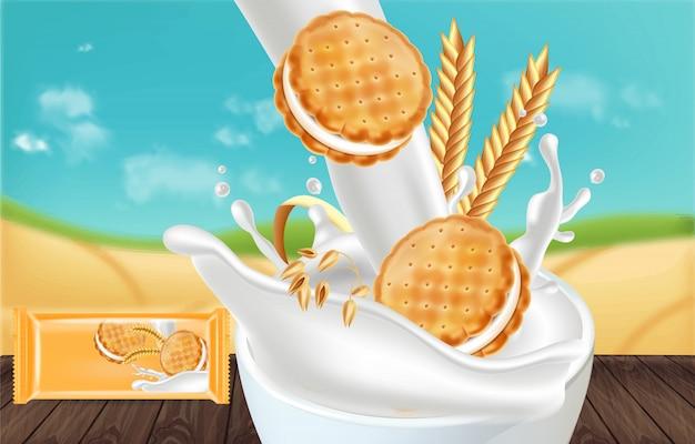 Vanilla cream cookies mock up