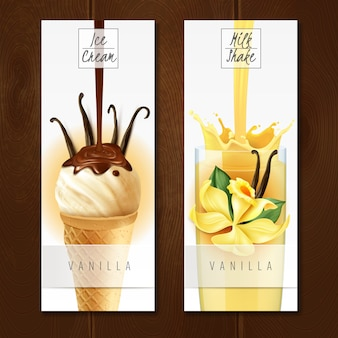 Vanilla flavored desserts 2 appetizing vertical realistic banners with ice cream and milk shake isolated