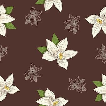 바닐라 꽃 원활한 패턴입니다. 배경, 포장지, 메뉴, 레시피, 직물, 섬유, 웹, 장식, 벽지, 스파 및 미용 제품 디자인을 위한 매운 꽃 스케치. 프리미엄 벡터