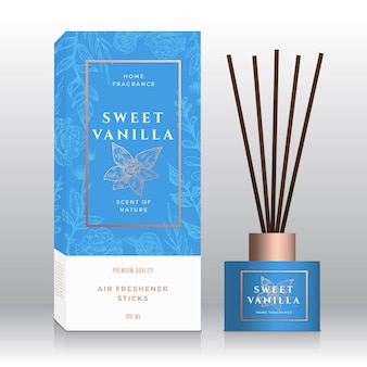 Vanilla home fragrance sticks abstract label box template.
