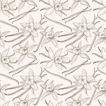 Vanilla stick and flower  hand drawn seamless pattern. flavor vanilla blossom
