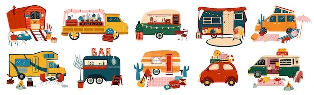 キャンピングカー用の旅行キャラバンのバンとトレーラー車両セット、観光イラスト用のビンテージサマートラック輸送。