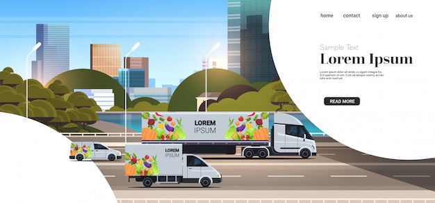 Vans and semi truck trailer with organic vegetables on city highway natural vegan food delivery service vehicles with fresh veggies cityscape background horizontal copy space