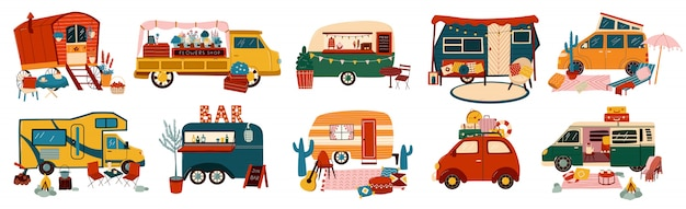 Vans and trailers vehicles set of travel caravans for camper, vintage summer trucks transport for tourism  illustrations.