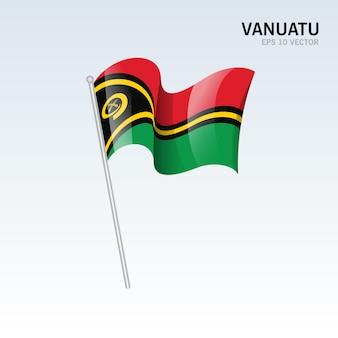 Vanuatu waving flag isolated on gray